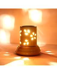 インドホームインテリア定期的な使用法汚染フリーハンドメイドセラミック粘土電気アロマオイルバーナー&ティーライトランプ/良質ホワイトカラー電気アロマオイルバーナーまたはアロマオイルディフューザー数量1