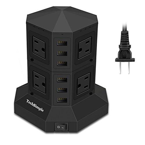 TechSimple 電源タップ USB コンセント AC 8個口 USB 6ポート(最大8A/5V)急速充電可能 雷ガード 個別スイッチ 過負荷保護 新型タワー式の 日本規格 ブラック