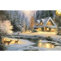 1000ピース 暗闇で光る 発光パズル - 森の中のログハウス 冬景色-