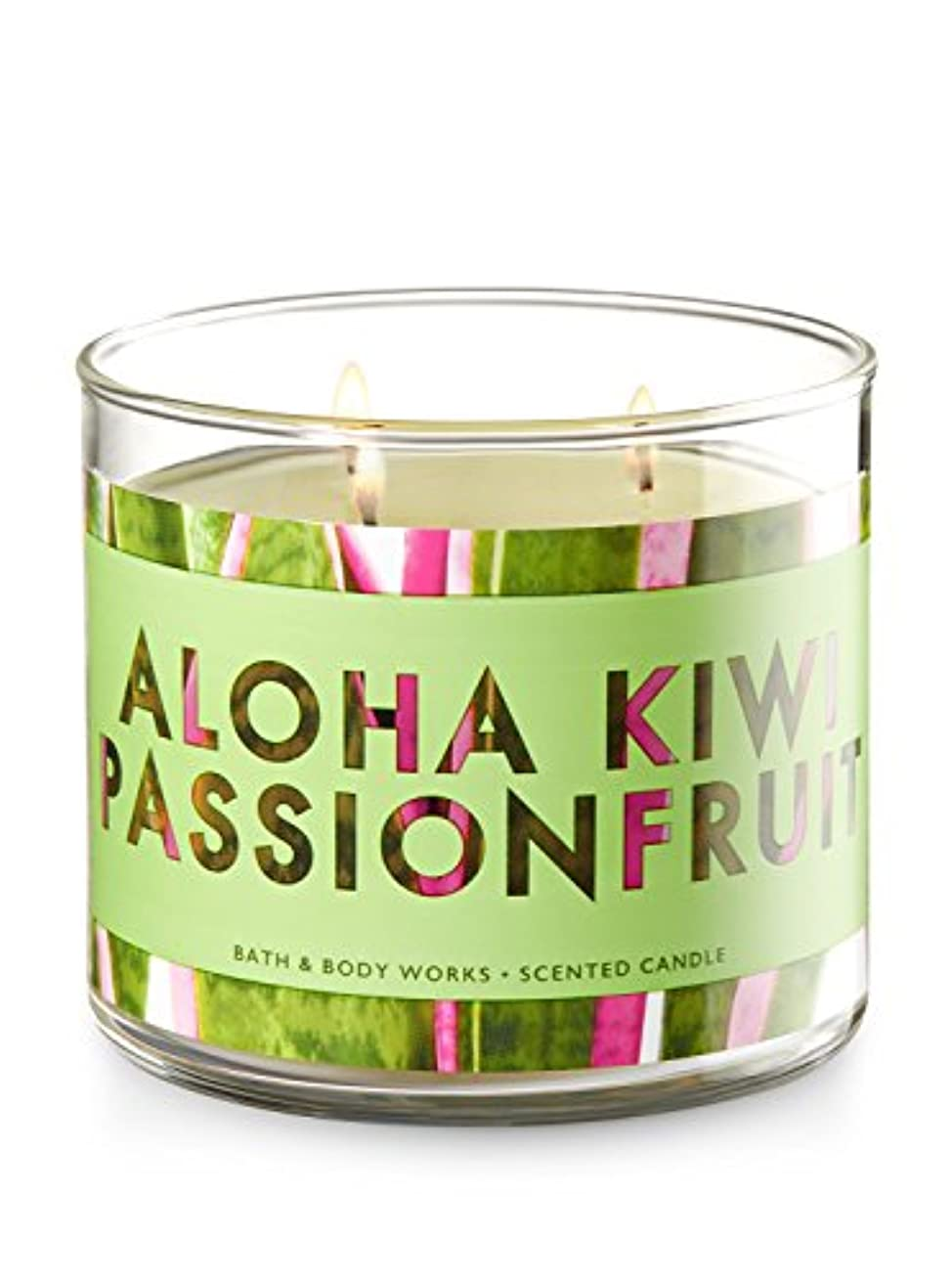 受取人提供するハッチBath and Body Works 3 Wick Scented Candle Aloha Kiwi Passionfruit 430ml