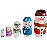 Zandreal 5Pcs/Set Christmas Snowman Russian Wooden Matryoshka Nesting Dolls Kid Toy Gifts