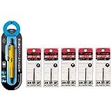 トンボ鉛筆 加圧式油性ボールペン0.7mm エアプレス アクティブカラー イエロー+替芯 黒5本 BC-AP52+BR-SF33×5 本体1本+替芯5本組み