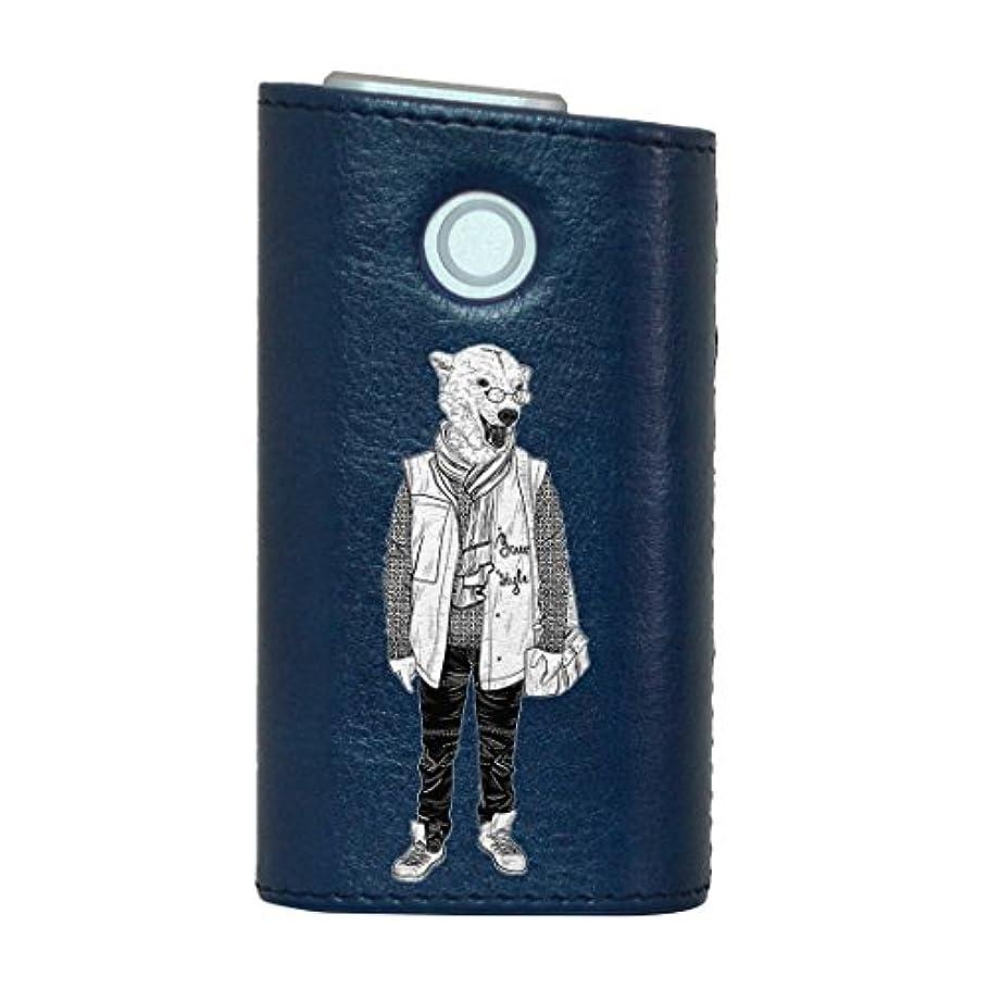 ヒット温帯泣き叫ぶglo グロー グロウ 専用 レザーケース レザーカバー タバコ ケース カバー 合皮 ハードケース カバー 収納 デザイン 革 皮 BLUE ブルー くま 動物 ファッション 011190