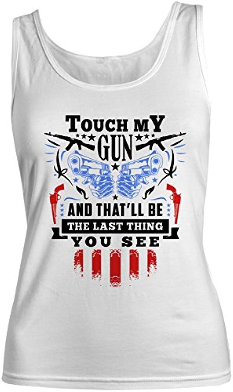 地下室長くする常習的Touch My Gun Rifle Gun Owner レディース Tank Top Sleeveless Shirt