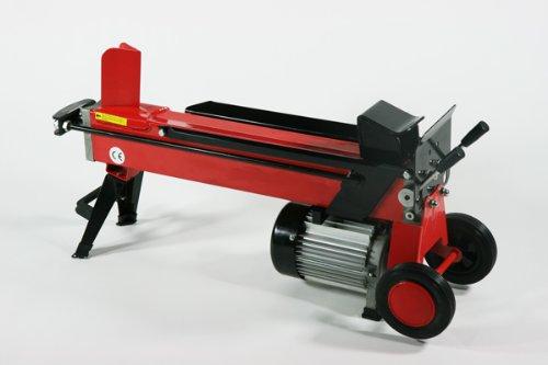 薪割り機 オートリターン 6t 6トン 電動油圧式 4分割カッター付き 持ち運びスムーズ レッド