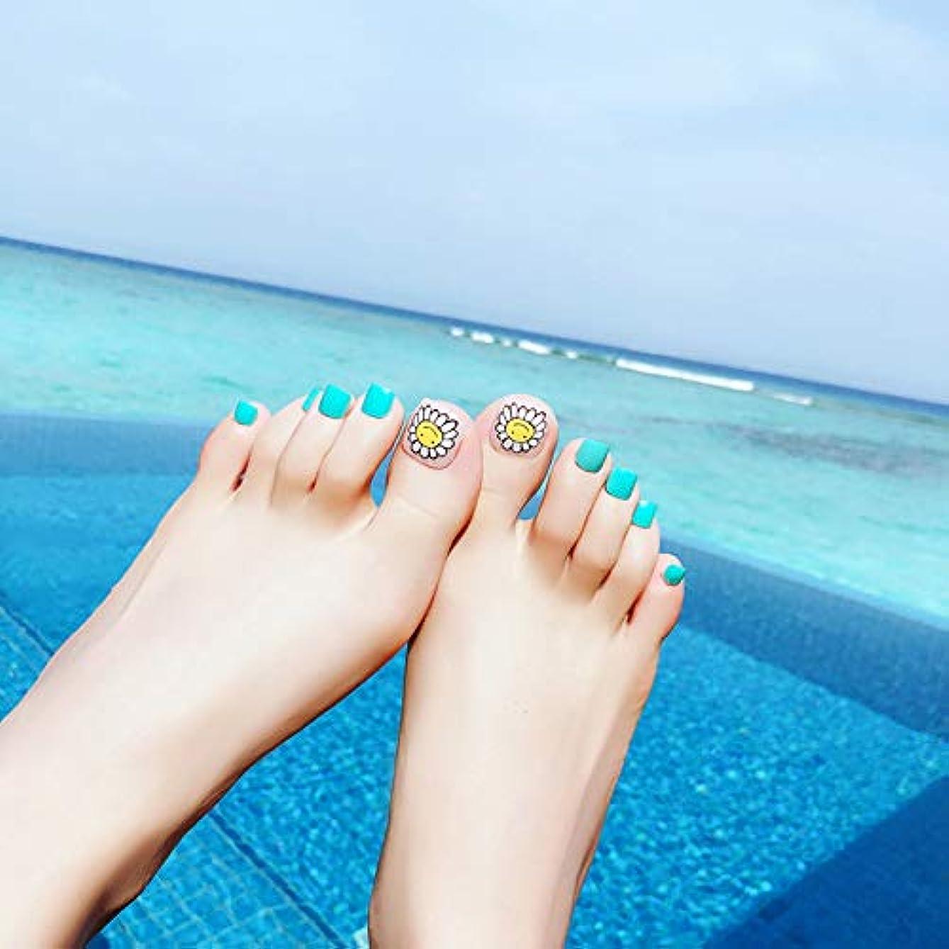 体細胞一口土砂降りXUTXZKA 24本のつま先偽爪青い足偽の爪マニキュアツールステッカー
