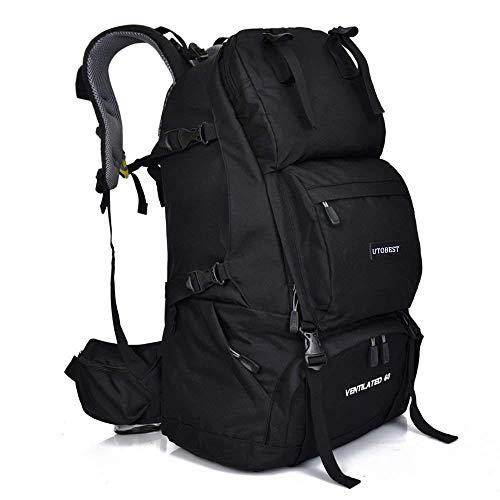 登山リュック ブラック リュックザック アウトドア 通学 60L 大容量 レインカバー付き 防水 丈夫 バックパック バッグ 2色 (ブラック)