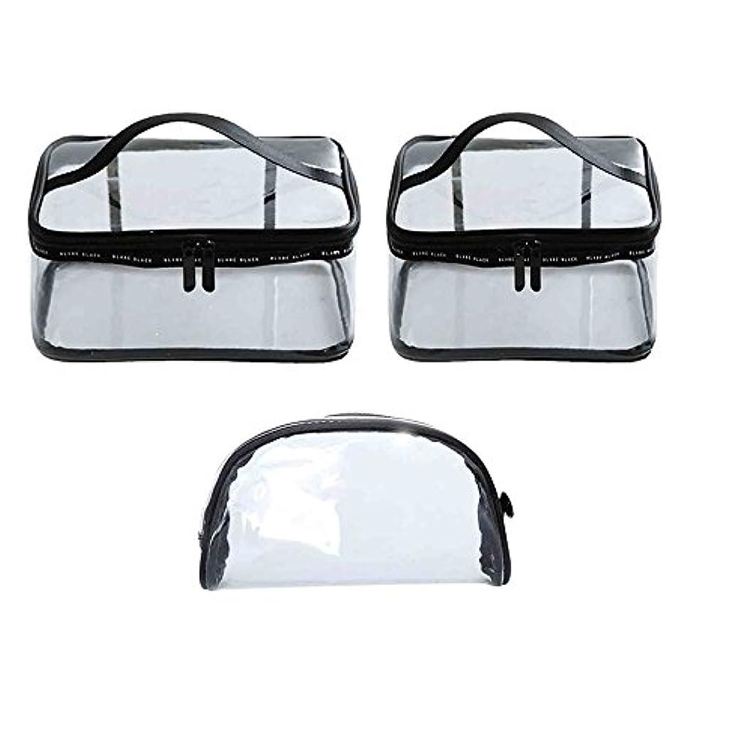下着不良エスカレーター透明 化粧ポーチ トラベルポーチ クリア コンパクト 旅行出張用PVCビニールポーチ 多機能な収納バッグ 小物入れ 3枚セット