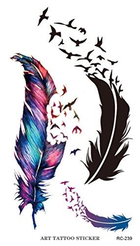 原野 かわいい  防水シール 羽  タトゥーシール 3枚/セット