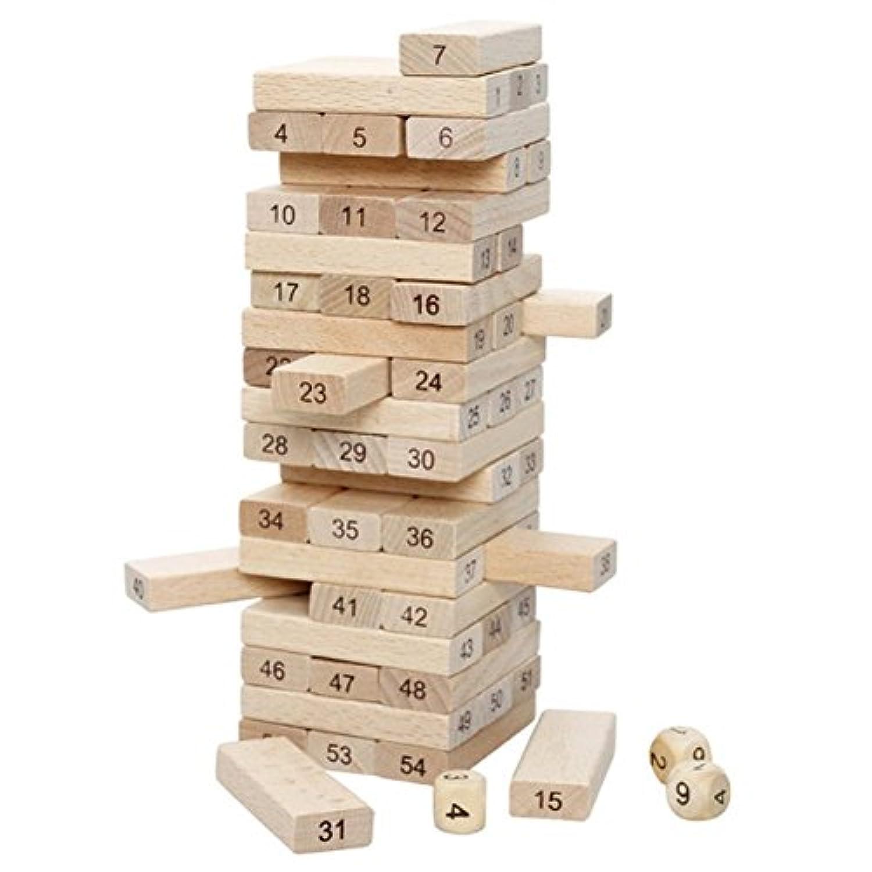 Remeehi木製タワー木製BuildingブロックおもちゃDomino Stacker抽出建物教育ゲームギフト54個図