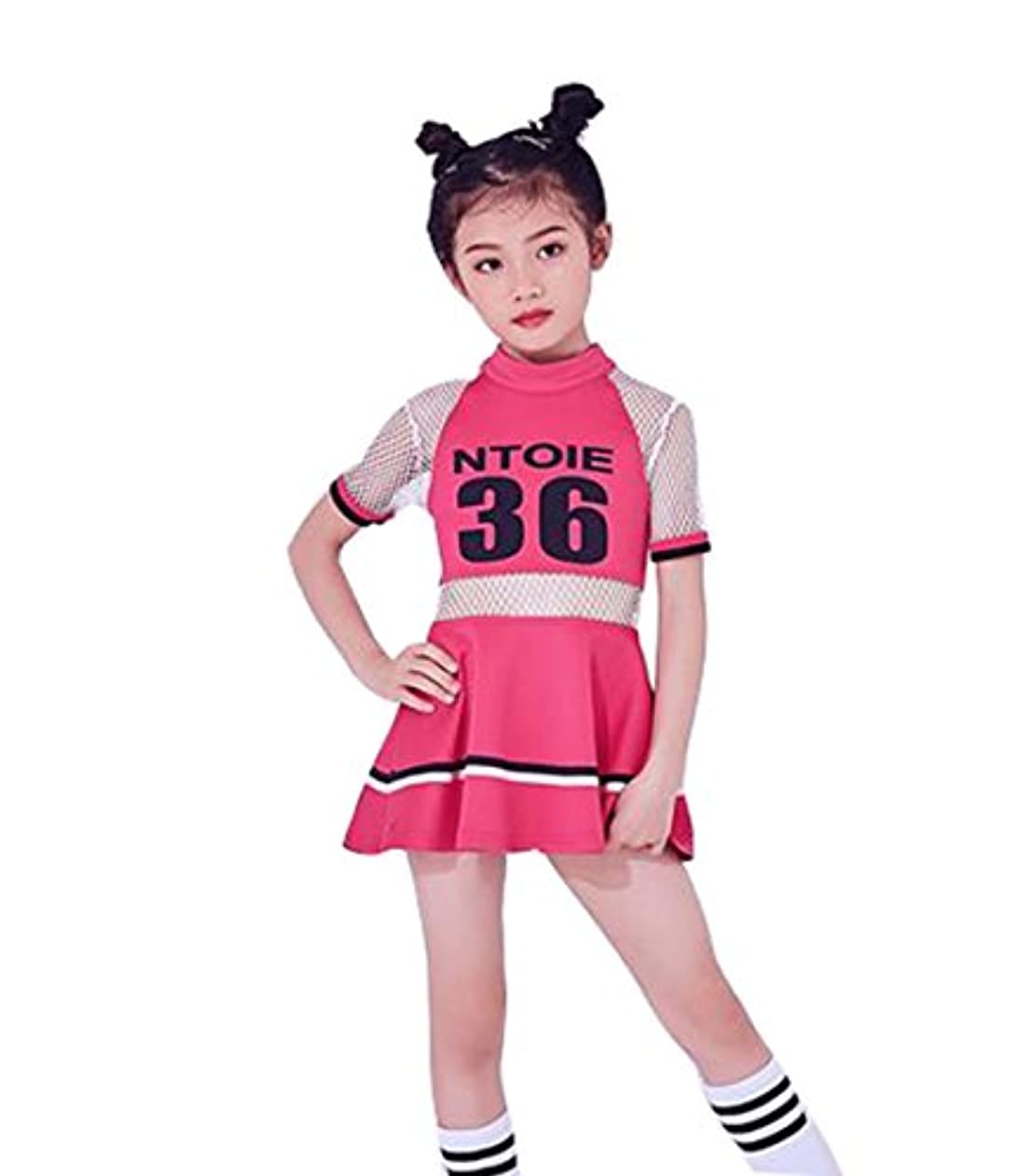 に賛成素晴らしい良い多くの薄いですキッズダンス衣装 女の子 チアガール 衣装 ワンピース ユニフォーム キッズ チア チアガール 衣装 チアリーダー 衣装 ダンス衣装 セットアップ 新体操 発表会 女の子 ダンス衣装 ヒップホップ ダンスウェア 体操服 演出服 (ピンク, 160CM)