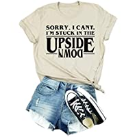 Anbech Upside Down Stranger Things Shirt Womens Novelty Graphic Tees Casual Tops