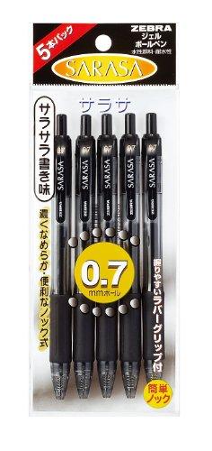 ゼブラ ジェルボールペン サラサ 0.7 P-JJB3-BK5 黒 5本