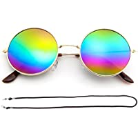 F Fityle Hippie Circle Round Metal Sunglasses Cyber Goggles Retro Hippy+Glasses Rope