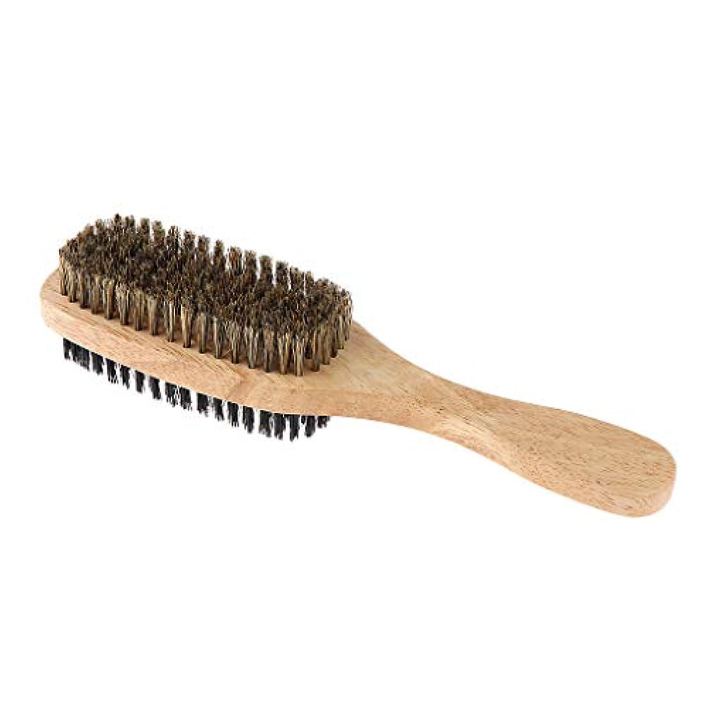 ギャング証人しわSharplace ひげブラシ 両面ブラシ メンズ用ブラシ シェービングブラシ 木製ハンドル 髭剃り 泡立ち 3サイズ選べ - A