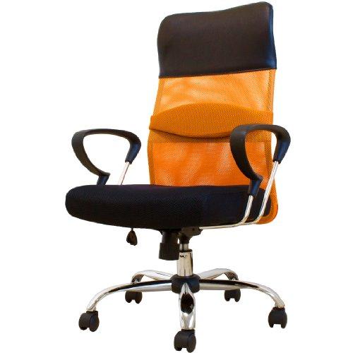 タンスのゲン SEED 低反発オフィスチェア メッシュ ハイバック オレンジ 65090046 OR