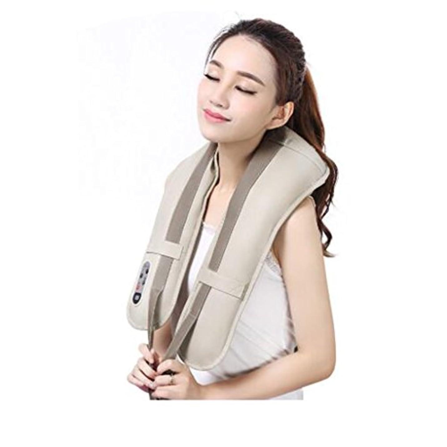 プロフィール地殻黙ホットネックマッサージャーポータブル電気パーカッション頸部マッサージショールの痛みの首と肩の多機能タップマッサージャー (色 : A)