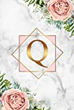 Q: Pretty Marble Initial Monogram Letter Q Wide Ruled Notebook for Writing & Notes - Personalized Wide Lined Blank Journal & Diary for Girls & Women - Adorable Tropical Pink & Gold Floral Print