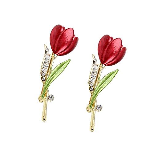 [해외]SONONIA 내구성 실용 2 점 튤립 꽃 크리스탈 | 라인 스톤 브로치 핀 여성 결혼 보석 선물/SONONIA durability practical 2 point tulip flower crystal | rhinestone brooch pin women`s wedding jewelry gifts
