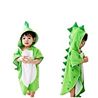 Kids Dinosaur Capped Beach Towel Cute Horned Shape Design Hooded Bathrobe Animal Cloak Cape