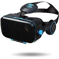 【 最新版 Version2】T-PRO 3D VRゴーグル スマホ最新型 iphone X/android 各種対応 3D イヤホン一体型 4.0~6.0インチ(ブルー)