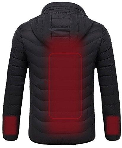 【サイズ ヒーター内蔵防寒ウェア 電熱ヒーター3枚 背中と袖の3箇所 3段階の温度調整 脱着式フード 日本語の取説書 バッテリーなし