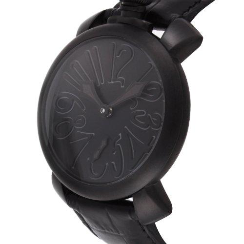 [ガガミラノ]GaGa MILANO 腕時計 マニュアーレ48mm ブラック文字盤 ステンレス(BKPVD)ケース カーフ革ベルト 手巻き スイス製 5012.02S-BLK メンズ 【並行輸入品】