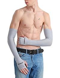 UPF50+ UVカット99%以上 寒い感 日焼け止めカフ 日焼け止めUVカット手袋 アームカバー 指穴あり ブラック 両腕用