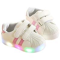 [Daclay] スニーカー キッズ 発光シューズ LEDスニーカー LEDシューズ LED フラッシュ 子供靴 ガールズ ボーイズ シェル シューズ (【28】17cm, ピンク)