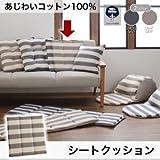 IKEA・ニトリ好きに。あじわいコットン100% 先染めボーダーデザインこたつ布団【JENIES】ジェニエス シートクッション    スモークネイビー
