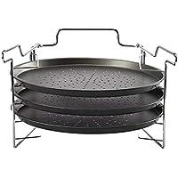 炭素鋼のノンスリック穴付きキッチンパンベーキングパンラウンドピザパンピザトレイ - ブラック、12インチ