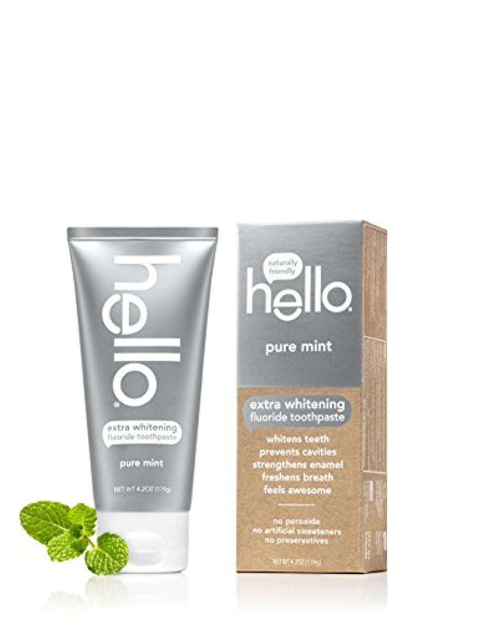 無視するユニークなテナントHello Oral Care エクストラホワイトニングフッ化物の歯磨き粉、ピュアミント、4.2オンス