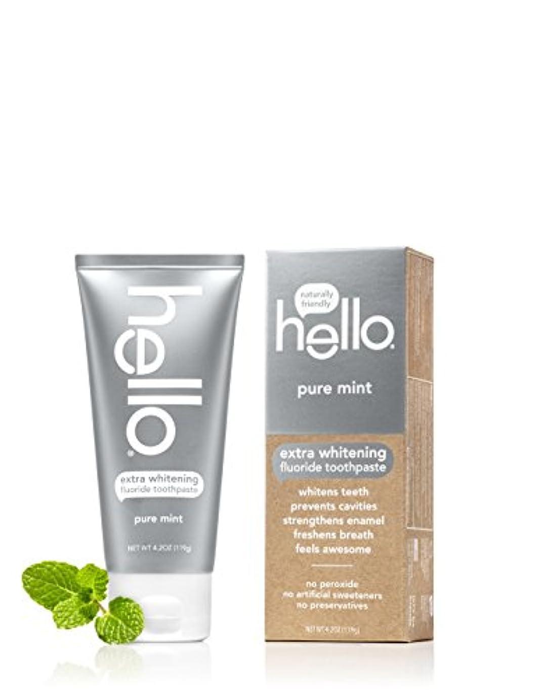 アイスクリーム人八百屋さんHello Oral Care エクストラホワイトニングフッ化物の歯磨き粉、ピュアミント、4.2オンス