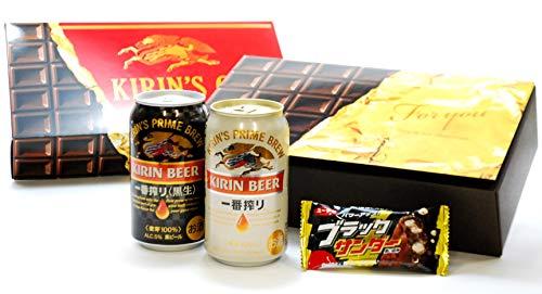 【Amazon.co.jp限定】 ブラックサンダー付 一番搾り チョコデザインBOX [ 350ml×4本 ]