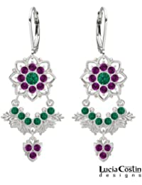 Graceful Chandelier Earrings by Lucia Costin with Leaf Elements and 8 Petal Flowers, Accented with Green, Violet...