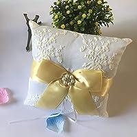 Kongqiabona Yellow Bowknot White Satin Wedding Ring Pillow 20 * 20cm Finger Ring Bearer Wedding Decorations Jewelry Supplies YMJZ-032