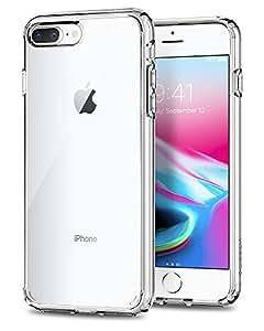 【Spigen】 スマホケース iPhone8 Plus ケース / iPhone7 Plus ケース 対応 全面クリア 耐衝撃 米軍MIL規格取得 すり傷防止 ワイヤレス充電対応 ウルトラ・ハイブリッド2 043CS21052 (クリスタル・クリア)