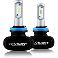NOVSIGHT H8/H9/H11車用ledヘッドライト 50W(25Wx2) 8000LM(4000LMx2) 6500K ファンレス ホウイト 2個セット