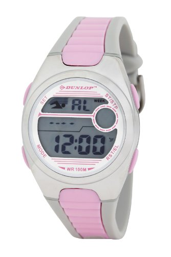 Dunlopレディースデジタル腕時計with LCD DialデジタルDisplay and Pink Plastic or PU Strap dun-194-m05