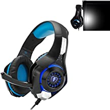 Simble Beexcellent GM1 ヘッドホン ゲーミングヘッドセット 高音質 騒音抑制マイク LEDライト PUレザー ゲーマー専用 ブルー フック付き