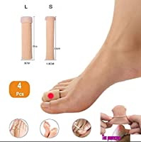 つま先外反母趾改善外反母趾足セパレーター、足の痛みを緩和するための肌の色4 PCSトウ分離パッド、,4L