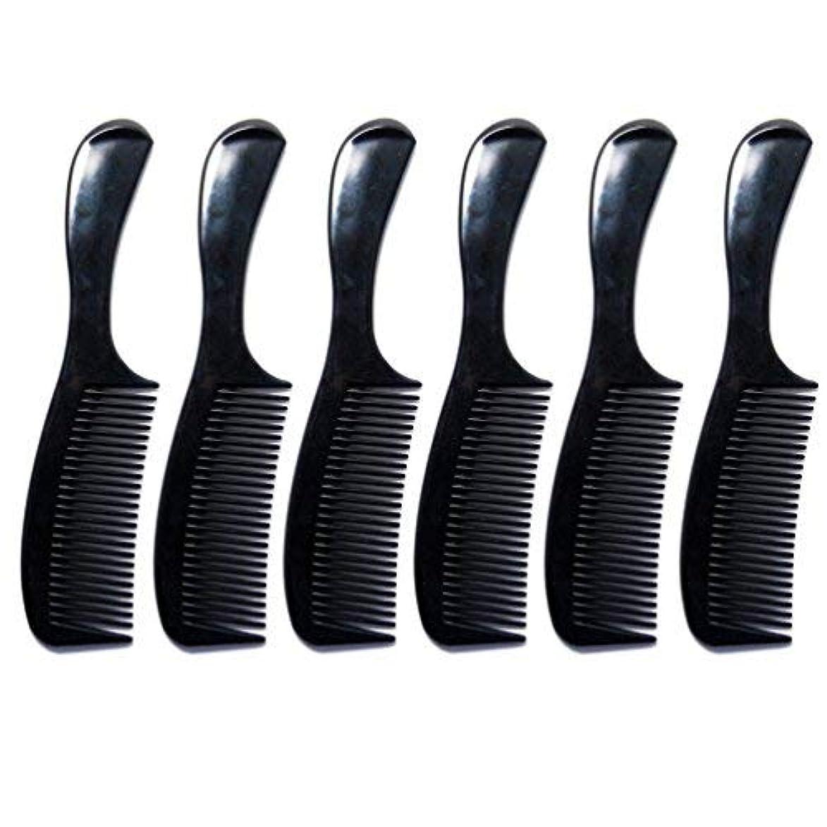 不良パズルビートLuxxii - (6 Pack) 8 inch Black Styling Essentials Round Handle Comb Pocket [並行輸入品]