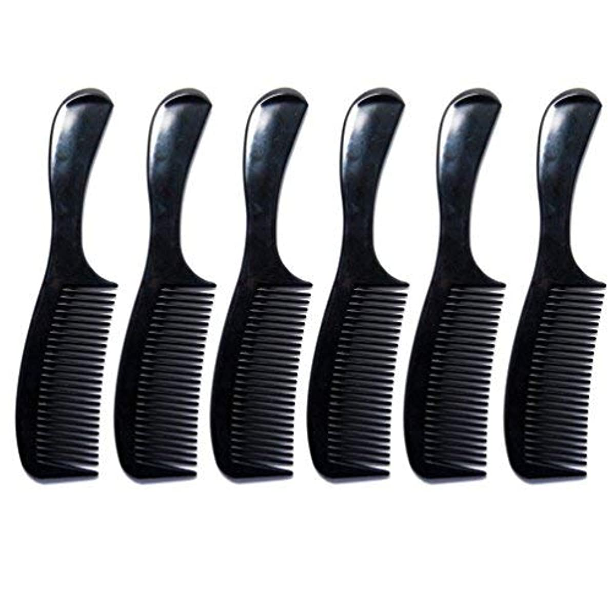 ウサギテスピアン円形Luxxii - (6 Pack) 8 inch Black Styling Essentials Round Handle Comb Pocket [並行輸入品]