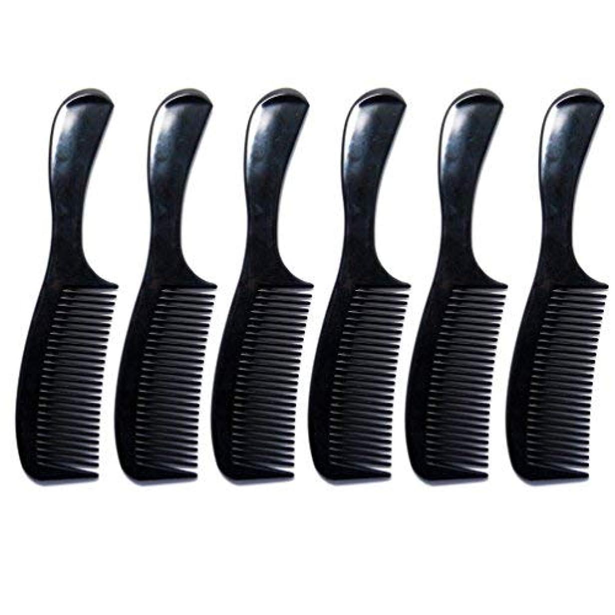 ホットめんどり処理Luxxii - (6 Pack) 8 inch Black Styling Essentials Round Handle Comb Pocket [並行輸入品]