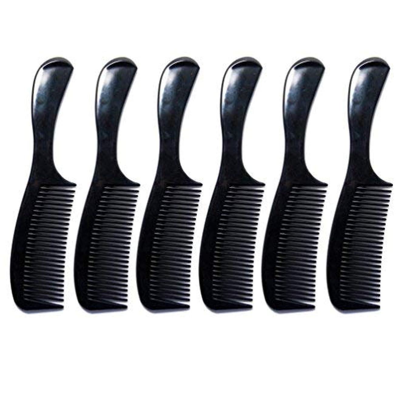 平和な習字チロLuxxii - (6 Pack) 8 inch Black Styling Essentials Round Handle Comb Pocket [並行輸入品]