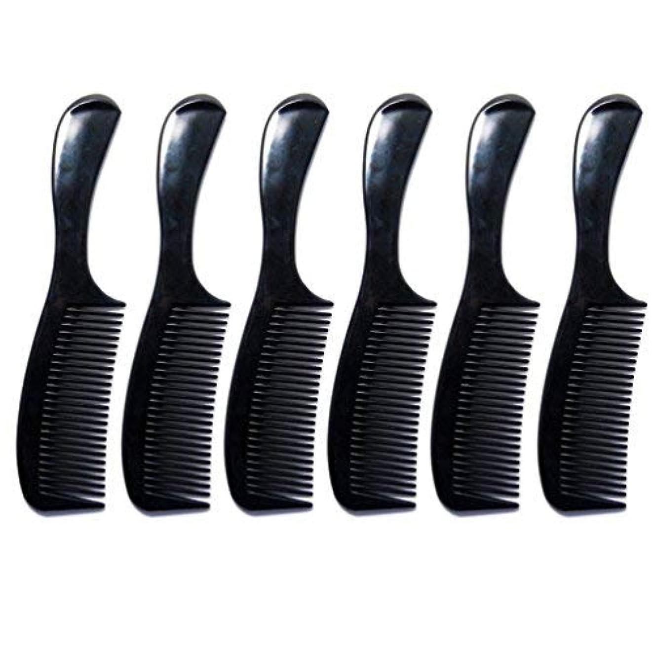 ヤング咳ゲートウェイLuxxii - (6 Pack) 8 inch Black Styling Essentials Round Handle Comb Pocket [並行輸入品]