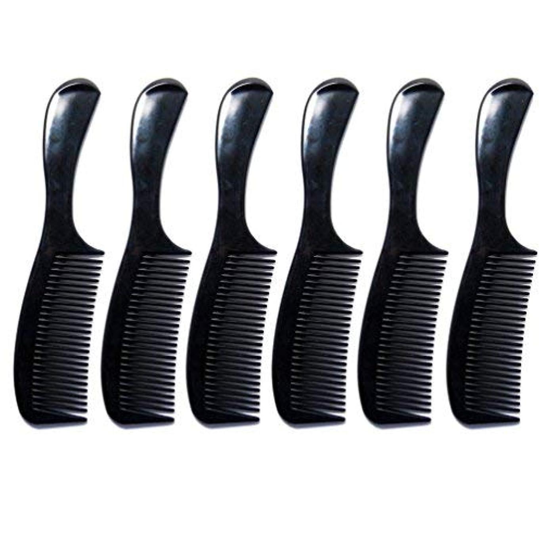 余剰内なる扇動するLuxxii - (6 Pack) 8 inch Black Styling Essentials Round Handle Comb Pocket [並行輸入品]
