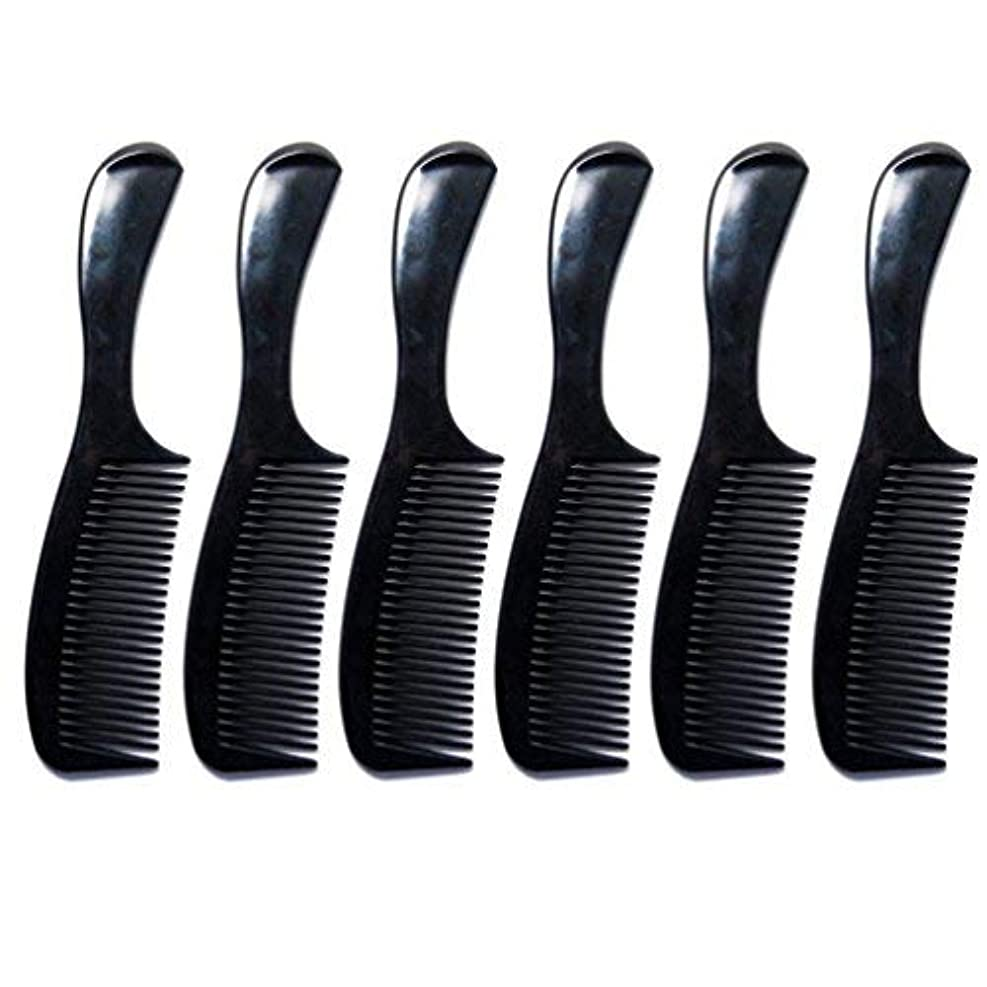 Luxxii - (6 Pack) 8 inch Black Styling Essentials Round Handle Comb Pocket [並行輸入品]