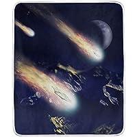 AOMOKI 毛布 シングル マイクロファイバー ひざ掛け 冷房/防寒対策 2枚合わせ 洗える 暖かい 保温 130x150cm 星空 星柄 宇宙 惑星