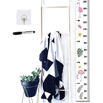 Xinyanmy 子供 身長 チャート 身長計 壁掛け 可移動 子供の成長記録 玄関 壁の装飾 キッズ 保育室用 キャンバス 200x20CM フラミンゴ